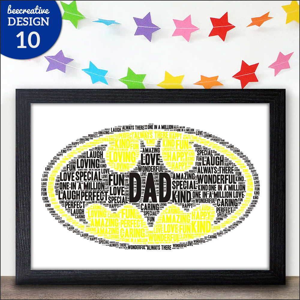 Personalised minions word art birthday gifts dad daddy for Personalised word art template