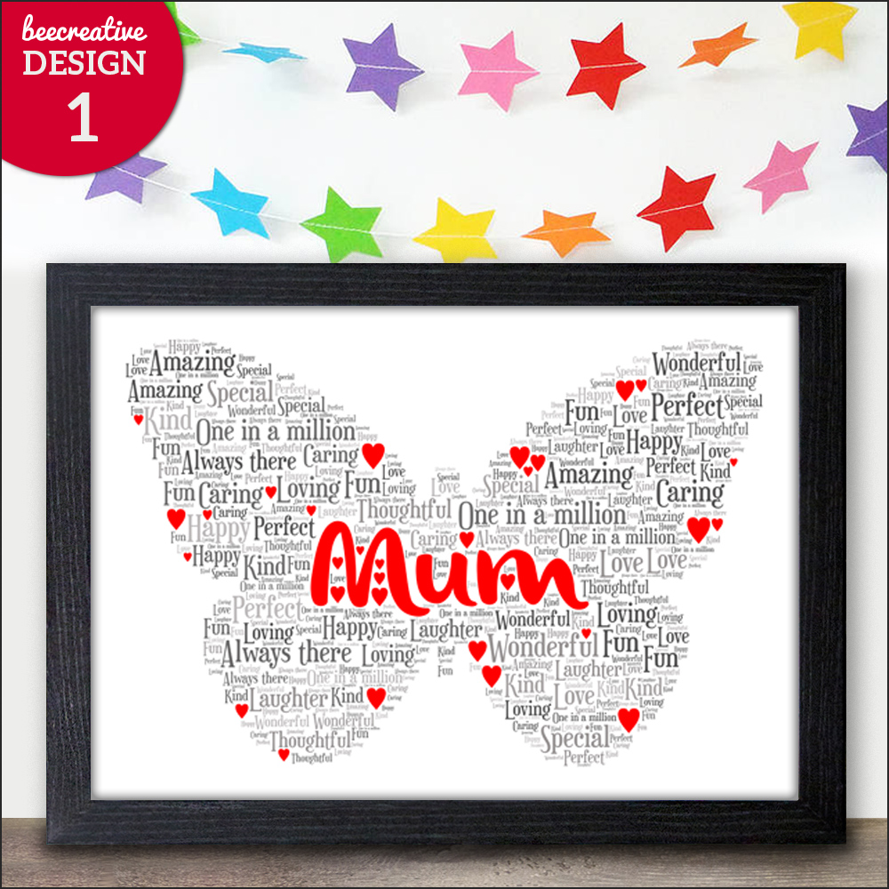 Mothers day gifts personalised word art print nanny nan for Personalised word art template