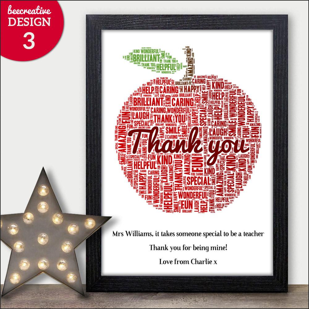 Thank You Teacher Gifts APPLE Personalised Poem Best Teacher Leaving ...