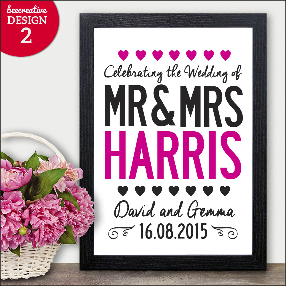 Couples Surname Initial Personalised Gift Wedding Anniversary ...