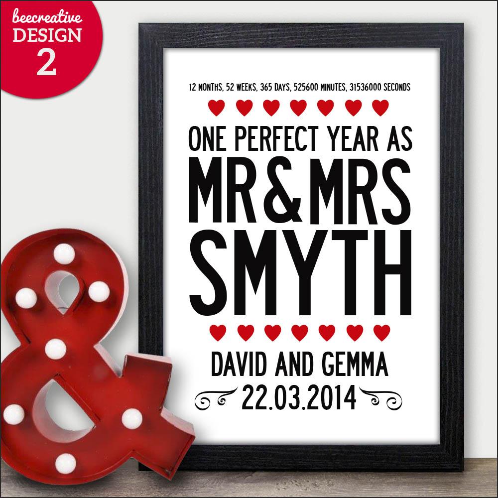 Personalised Wedding Engagement Anniversary Gift Word Art Present